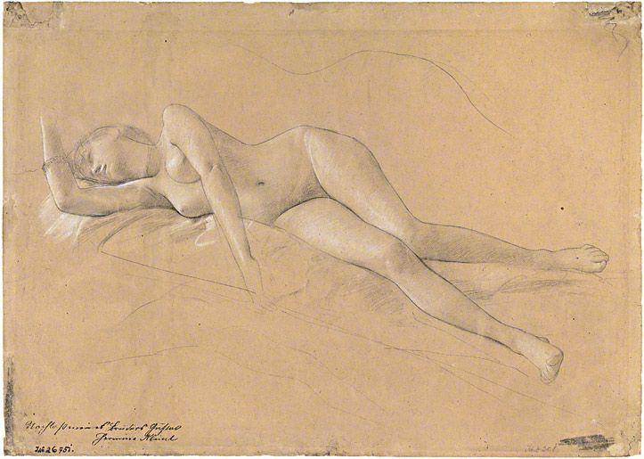 Reclining Maenad (study for altar) 1886–87, Gustav Klimt